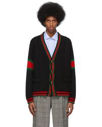 Gucci Black Cable Knit Web Cardigan