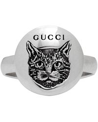 Gucci Silver Blind For Love Mystic Cat Ring - Metallic