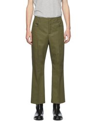 Acne Studios Khaki Twill Bootcut Pants - Green