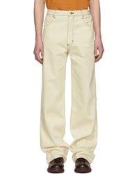 Eckhaus Latta Off-white Wide-leg Jeans - Natural