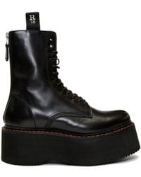 R13 - Black Double Stack Platform Lace-up Boots - Lyst