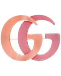 Gucci オレンジ And ピンク ダブル G ブローチ - マルチカラー