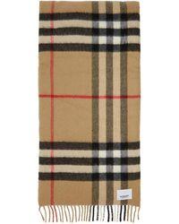 Burberry - Foulard en cachemire et soie a carreaux beige Wadded - Lyst