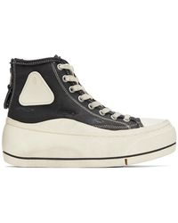 R13 Black Distressed High-top Trainers