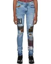 Amiri Blue Grunge Patch Medium Crafted Jeans
