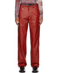Y. Project Red Faux-leather Boxer Trousers