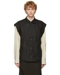 Jan Jan Van Essche Grey Denim Sleeveless Vest - Black