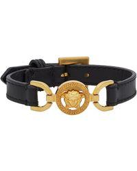 Versace Black And Gold Calfskin Medusa Bracelet