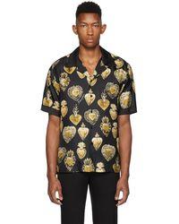 Dolce & Gabbana - Black Silk Sacred Heart Shirt - Lyst