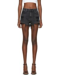 Alexander Wang - Grey Denim Bite Net Shorts - Lyst