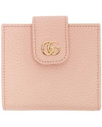 Gucci - Pink Petite Marmont Snap Card Case - Lyst