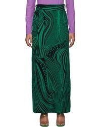 ROKH ブラック And グリーン ウール サイケデリック スカート