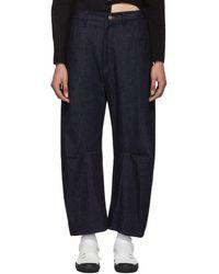Y's Yohji Yamamoto Indigo Wide Gusset Jeans - Blue