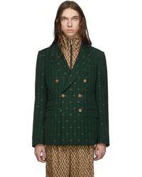 Gucci Green GG Striped Signoria Blazer