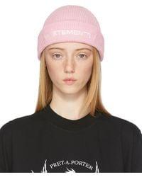 Vetements ピンク ロゴ ビーニー - ブラウン