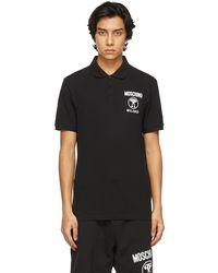 Moschino ブラック & ホワイト Double Question Mark ポロシャツ
