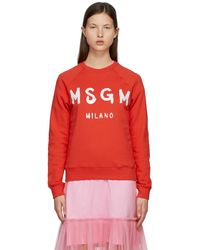 MSGM レッド & ホワイト Brushed ロゴ スウェットシャツ