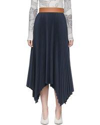 Loewe ネイビー プリーツ スカート - ブルー