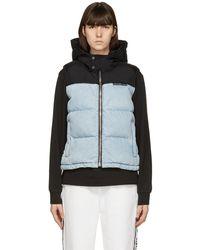 Alexander Wang Blue & Black Hooded Puffer Vest