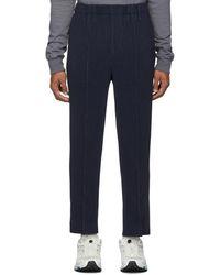 Homme Plissé Issey Miyake Navy Light Pleated Pants - Blue