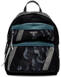 Prada Black And Blue Camouflage Backpack