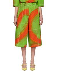 Loewe Green & Orange Oversize Print Trousers