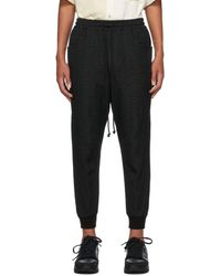 Song For The Mute Black Canvas Crinkled Tapered Lounge Pants