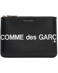 Comme des Garçons - ブラック Huge ロゴ ジッパー ポーチ - Lyst