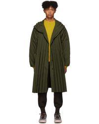 Homme Plissé Issey Miyake Khaki Pleated Coat - Green