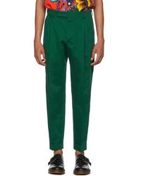 Paul Smith - Green Slim Pleated Trousers - Lyst