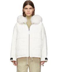 Army by Yves Salomon White Down And Fur Bachette Jacket