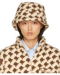 ROKH Beige & Brown Fleece Monogram Bucket Hat