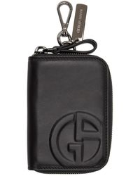 Giorgio Armani ブラック ロゴ ジップ カード ケース