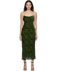 Marina Moscone グリーン ベルベット Burnout バイアス スリップ ドレス