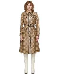 Gucci Beige & Brown gg Coated Canvas Trench Coat - Natural