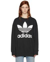 adidas Originals - Black Logo Oversized Sweatshirt - Lyst