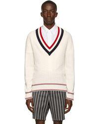Thom Browne ホワイト Heritage ケーブル V ネック セーター