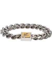 Fendi Silver & Gold Ff Bracelet - Metallic