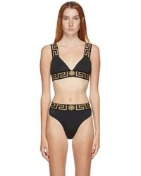Versace Black Thick Band Medusa Bikini Top