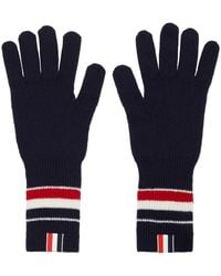 Thom Browne Navy Merino Rwb Stripe Gloves - Blue