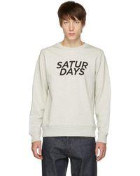 Saturdays NYC - Grey Bowery Gothic Italic Crewneck Sweater - Lyst