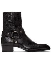 Saint Laurent Wyatt Croc-effect Leather Boots - Black