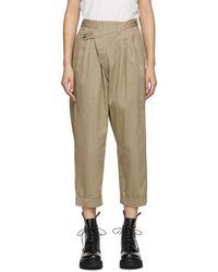 R13 Tan Triple Pleat Cross-over Pants - Natural