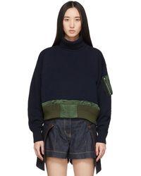 Sacai ネイビー ニット カラー セーター - ブルー