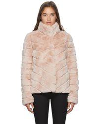 Yves Salomon Pink Crop Rex Rabbit Fur Coat
