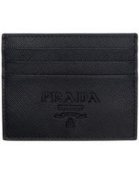 Prada - Black Saffiano Logo Card Holder - Lyst