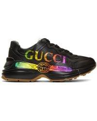 Gucci 〔ライトン〕 ウィメンズ ロゴ レザー スニーカー - ブラック