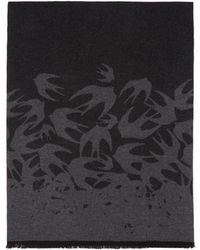 McQ - Black And Grey Swallows Degrade Scarf - Lyst