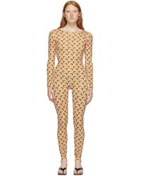 Marine Serre - Tan All Over Moon Catsuit - Lyst
