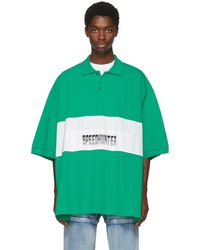 Balenciaga   Green And White Speedhunter Big Fit Polo   Lyst